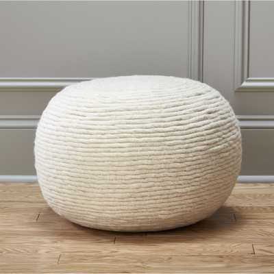 wool wrap natural pouf - CB2