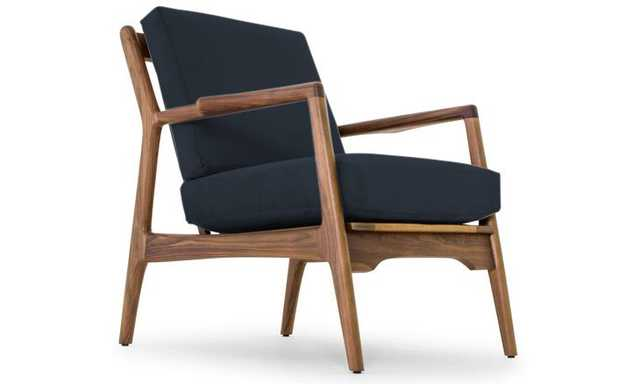 Collins Mid Century Modern Chair - Chance Denim - Walnut - Joybird