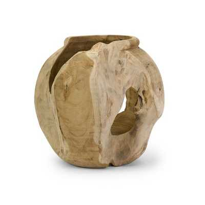 Macaque Teakwood Round Vase - Mercer Collection