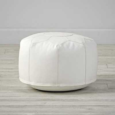 Mini Faux Leather White Pouf - Crate and Barrel
