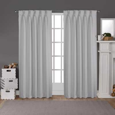 Sateen Pinch Pleat Silver Woven Blackout Curtain - Home Depot