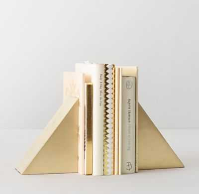 GEOMETRIC CAST-METAL BOOKENDS SET OF 2 - BRASS - RH Teen