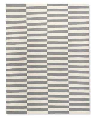 Broken Stripe Flatweave Rug, 9x12', Gray - Williams Sonoma