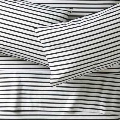 Organic Black Stripe Queen sheet Set - Crate and Barrel