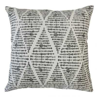 "Cahdla Geometric Pillow Ink - 18x18"" - with poly insert - Linen & Seam"