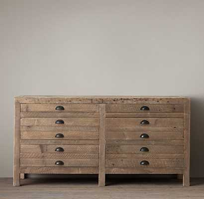"PRINTMAKER'S 55"" MEDIA CONSOLE - Antiqued Pine - RH"