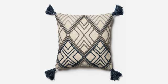 Magnolia Home Soren 22-Inch x 22-Inch Throw Pillow in Blue/Ivory - Bed Bath & Beyond