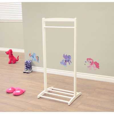 1-Hook Kid's Contemporary Wooden Cloths Hanger in White - Home Depot