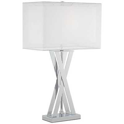 Possini Euro Proxima Double Shade Chrome Table Lamp - Lamps Plus