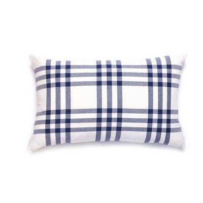 GRANDE PLAID PILLOW IN NAVY-Insert sold seperately - Caitlin Wilson