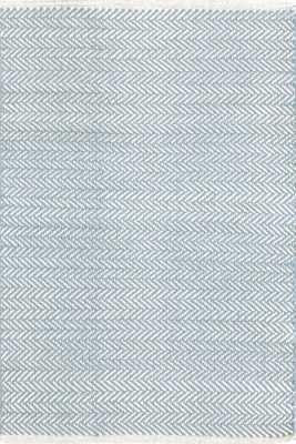 Herringbone Swedish Blue Woven Cotton Rug - 8x10 - Dash and Albert
