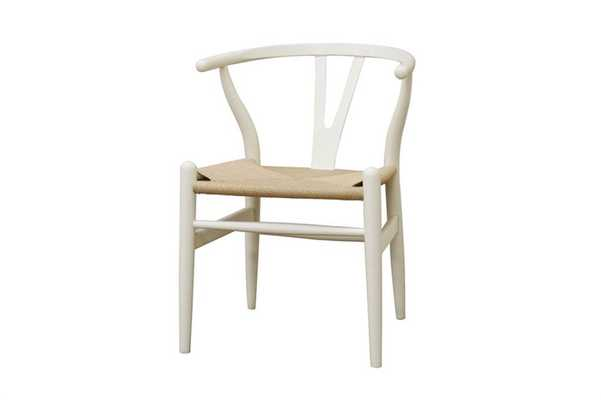 BAXTON STUDIO WISHBONE CHAIR - IVORY WOOD Y CHAIR - set of 2 - Lark Interiors