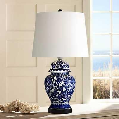 Blue and White Porcelain Temple Jar Table Lamp - Lamps Plus