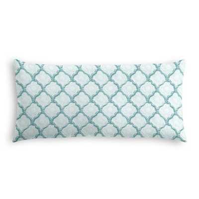 """Padma Geometric Pillow Aqua Mist - 12"""" x 24"""" - Poly Fiber insert - Loom Decor"""