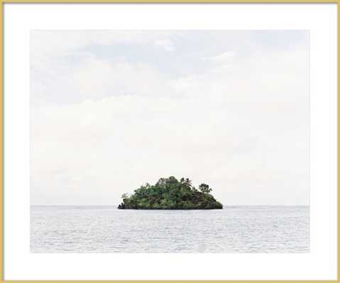 "Island | Frosted gold Metal frame with matte | FINAL FRAMED SIZE: 31x26"" - Artfully Walls"