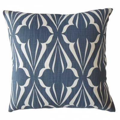 Jacquez Geometric Pillow Sapphire with poly insert - Linen & Seam