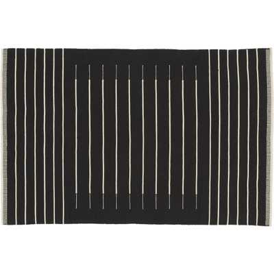 Black with White Stripe Rug 5'x8' - CB2