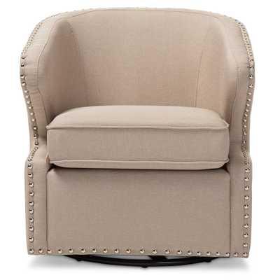 Baxton Studio Finley Mid-century Modern Beige Fabric Upholstered Swivel Armchair - Lark Interiors