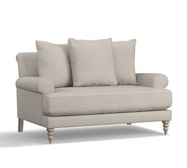 """Amalie Upholstered Loveseat 64"""", Polyester Wrapped Cushions, Performance Twill Silver Taupe - Pottery Barn"""