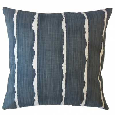 "Panya Striped Pillow Carbon 18x18"" w down insert - Linen & Seam"