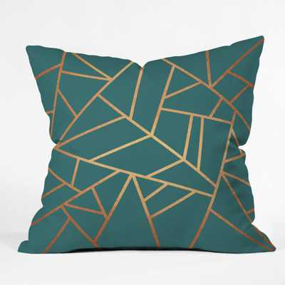 "COPPER AND TEAL Throw Pillow -20""sq.-with insert - Wander Print Co."