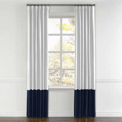 "COLOR BLOCK DRAPERY - Classic Pure Linen - White, Colorblock Classic Linen - Ink, Split Panel,  Lining - 50""W x 96""L - Loom Decor"