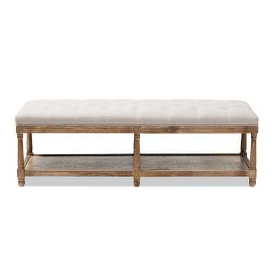 BAXTON STUDIO CELESTE FRENCH COUNTRY WEATHERED OAK BEIGE LINEN UPHOLSTERED OTTOMAN BENCH - Lark Interiors