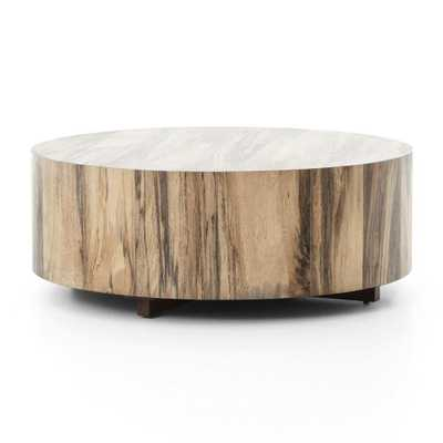 Hudson Spalted Primavera Round Wood Coffee Table - Crate and Barrel