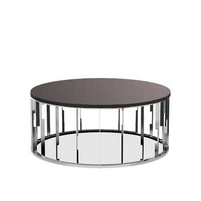 Isadora Coffee Table, Smoked Eucalyptus, Polished Nickel - Williams Sonoma