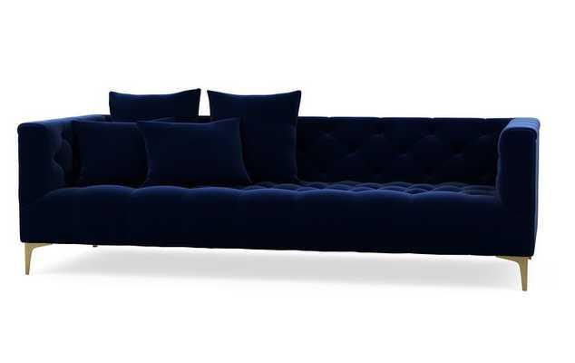 CUSTOM-Ms. Chesterfield -  Oxford Blue Mod Velvet, Brass Plated Sloan L Leg - Interior Define