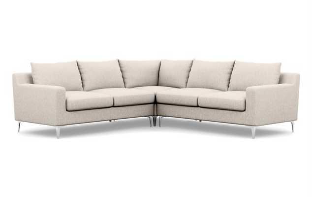Sloan Corner Sectional - Wheat Cross Weave - Chrome Sloan Leg - Interior Define