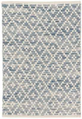 MELANGE DIAMOND BLUE WOVEN COTTON RUG 9 x 12 - Dash and Albert