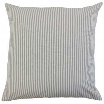 "Ira Stripes Pillow Slate - 18"" x 18"" - Polyester Insert - Linen & Seam"