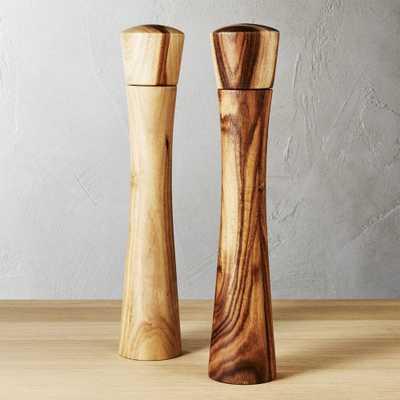 set of 2 cinch acacia tall salt-pepper mill set - CB2