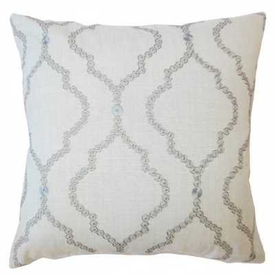 "Gabrille Geometric Pillow Mineral, 18"" with Down Insert - Linen & Seam"