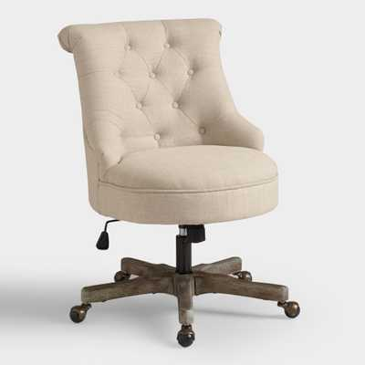 Warm Ivory Elsie Upholstered Office Chair: White - Fabric by World Market - World Market/Cost Plus