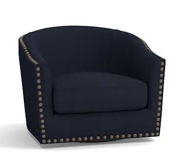 Harlow Upholstered Swivel Armchair with Bronze Nailheads, Polyester Wrapped Cushions, Twill Cadet Navy - Pottery Barn
