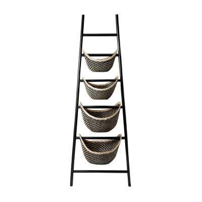 Black Plaid Ladder Basket - Rosen Studio