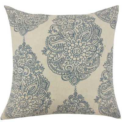 """Lanza Damask Pillow Blue - 18"""" x 18"""" - Down Insert - Linen & Seam"""