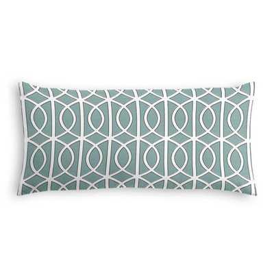 Modern Teal Trellis Lumbar Pillow - Lumbar Pillow  Gate - Jade - No Trim 12x24 - Loom Decor