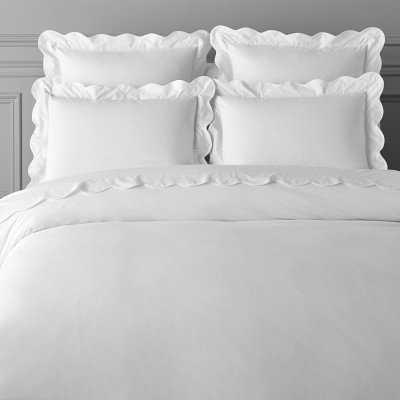 AERIN Scalloped Organic Bedding, King/Cal King, White - Williams Sonoma