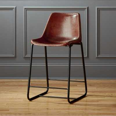 Roadhouse leather counter stools - CB2