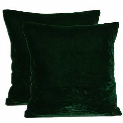 "Green Velvet Feather and Down Filled Throw Pillows (Set of 2)-Green-Insert-18""x18"" - Overstock"