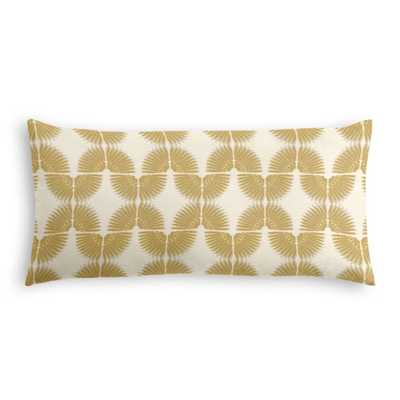 "Lumbar Pillow - Fan Fair - Gold - 12"" x 24"" - Down Insert - Loom Decor"