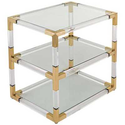 Louisa 3-Glass Shelf Acrylic Bronze Brass End Table clear - Lamps Plus