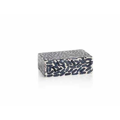 "6"" Long Legian Decorative Box, Navy Blue Bone Inlay - Overstock"