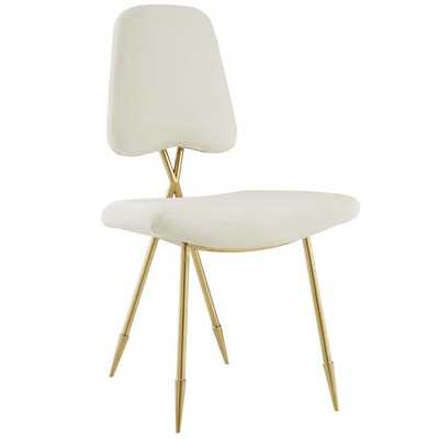Ponder Upholstered Velvet Dining Chair in Ivory - Modway Furniture