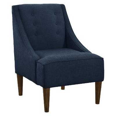 Buttons Swoop Arm Linen Chair - Navy - Hayneedle