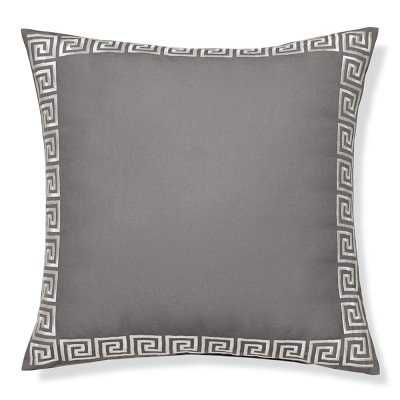 "Outdoor Greek Key Embroidered Pillow, 22"" X 22"", Gray - Williams Sonoma"