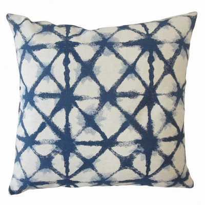 """Gerica Ikat Pillow Denim 18""""x18"""" with Down Insert - Linen & Seam"""